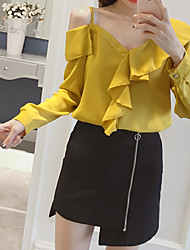cheap -Women's Daily Going out Casual Winter Fall Blouse,Solid V Neck Long Sleeves Polyester Medium