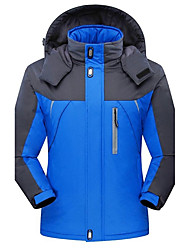 Men's Plus Size Simple Casual Winter Jacket,Color Block Hooded Long Sleeve Regular Polyester