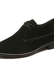 cheap -Women's Shoes Rubber Fall Comfort Oxfords Low Heel Pointed Toe Lace-up For Outdoor Khaki Black