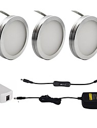 cheap -3PCS 2W  LED Under Cabinet Puck Lights with ON/OFF Switch for Furniture Lighting Warm White Cold White 85-265V
