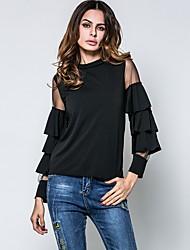 T-shirt Da donna Per uscire Casual Semplice Primavera Autunno,Tinta unita Girocollo Cotone Rayon Manica lunga Sottile