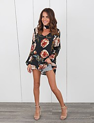 Women's Going out Casual/Daily Street chic Spring Summer T-shirt,Floral Halter Long Sleeves Cotton Medium
