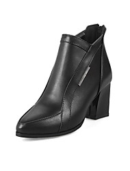 Women's Shoes Leatherette Fall Winter Fashion Boots Bootie Boots Chunky Heel Closed Toe Booties/Ankle Boots Split Joint Zipper For Office