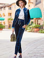Dámské Zdobené a Vyšívané Výšivka Jdeme ven Běžné/Denní Jednoduchý Čínské vzory Kapuce Kalhoty Obleky-Podzim Zima Kulatý Dlouhý rukáv