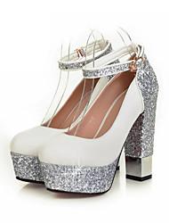 cheap -Women's Shoes Glitter / PU(Polyurethane) Spring / Fall Comfort / Novelty Heels Chunky Heel Round Toe Buckle White / Black / Dress