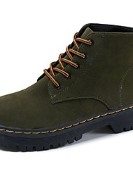 cheap -Women's Shoes Suede Fall Combat Boots Boots Flat Heel Round Toe Lace-up for Casual Black Army Green