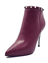 Damen Schuhe PU Herbst Winter Komfort Stiefel Stöckelabsatz Booties / Stiefeletten Niete Für Normal Schwarz Burgund
