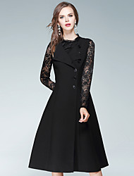 cheap -EWUS Women's Daily Street chic Sheath Dress,Solid Square Neck Knee-length Sleeveless Cotton Polyester Spandex Fall High Rise Inelastic Medium