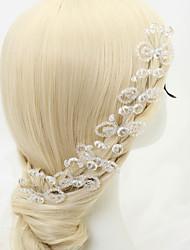 abordables -Pierre Précieuse & Cristal Tulle Imitation de perle Alliage Casque Épingle à cheveux with Cristal Plume 1 Mariage Occasion spéciale