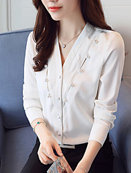 cheap -Women's Daily Work Casual Spring Fall Blouse,Solid V Neck Long Sleeves Polyester Thin