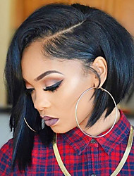 cheap -Women Human Hair Lace Wig Brazilian Human Hair Glueless Full Lace 130% Density Asymmetrical Haircut With Baby Hair Straight Wig Black