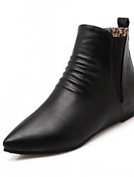 Damen Schuhe Kunstleder Herbst Winter Komfort Neuheit Stiefeletten Stiefel Keilabsatz Spitze Zehe Booties / Stiefeletten Tupfen Für Normal
