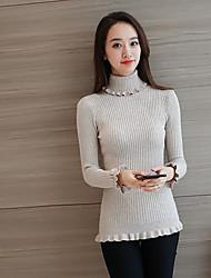 Normal Cardigan Femme Décontracté / Quotidien simple,Couleur Pleine Col Roulé Manches Longues Autres Automne Hiver Moyen Micro-élastique