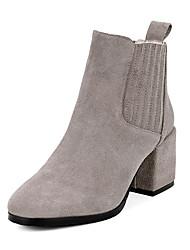 baratos -Mulheres Sapatos Couro Inverno Curta / Ankle / Botas da Moda Botas Salto Robusto Ponta Redonda Botas Curtas / Ankle Elástico para Social