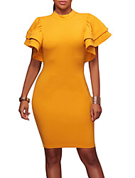 cheap -Women's Party Club Casual Sexy Bodycon Dress,Solid Crew Neck Above Knee Short Sleeves Polyester Summer Fall Mid Rise Micro-elastic Medium