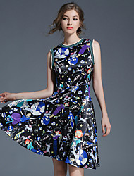 Women's Party Going out Casual/Daily Sexy Vintage Simple A Line Sheath Dress,Print Letter Round Neck Knee-length Sleeveless Polyester