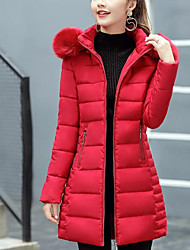 Women's Long Padded Coat,Street chic Going out Casual/Daily Solid-Cotton Cotton Long Sleeves