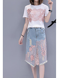 cheap -Women's Daily Casual Summer T-shirt Skirt Suits,Print Round Neck Short Sleeve Cotton Micro-elastic