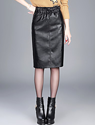 Women's Casual/Daily Knee-length Skirts,Simple Pencil Solid Fall Winter