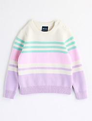 preiswerte -Mädchen Bluse Streifen Baumwolle Herbst Langarm Streifen Lavendel