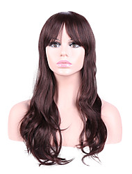 Women Synthetic Wig Capless Long Wavy Brown Natural Hairline Layered Haircut Party Wig Natural Wigs Costume Wig