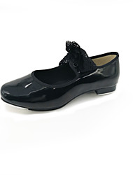 Women's Tap PVC Leather Patent Leather Flat Professional Flat Heel Black