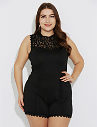 Women's Patchwork Lace Hollow Out Fashion Casual Slim Plus Size Jumpsuits,Sexy / Street chic Crew Neck Sleeveless