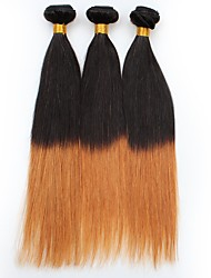economico -Vergini Brasiliano Ambra Lisci Extensions per capelli 3 Nero / Medium Auburn