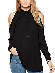 cheap -Women's Daily Casual Summer Blouse,Solid Shirt Collar Short Sleeves Polyester Medium