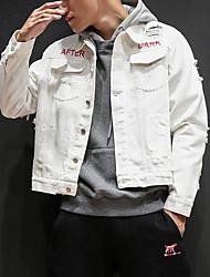 abordables -Veste en jean Homme Sortie Chic de Rue Automne Manches longues Col de Chemise Normal Autres Imprimé