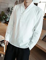 Недорогие -Муж. Большие размеры - Рубашка Хлопок Шинуазери (китайский стиль) Однотонный / Длинный рукав