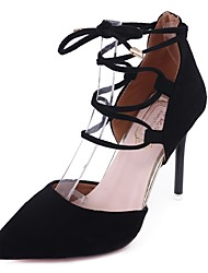 cheap -Women's Shoes PU Summer Comfort Heels Stiletto Heel Pointed Toe Lace-up for Casual Dress Black Pink