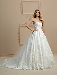 cheap -Ball Gown Strapless Chapel Train Lace Custom Wedding Dresses with Appliques by LAN TING BRIDE®