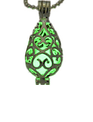 cheap -Women's Luminous Drop Pendant Necklace  -  Personalized Luminous Fluorescent Light Blue Light Green Necklace For Halloween Club