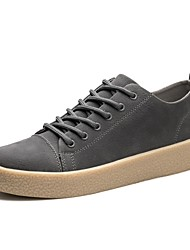 Men's Sneakers Comfort Fall Winter Real Leather Casual Outdoor Lace-up Flat Heel Khaki Gray Black Flat