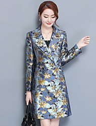 cheap -Women's Street chic Plus Size Trench Coat Print Shirt Collar