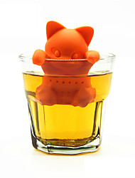 cheap -Cartoon Cat Tea Strainer Silicone Tea Infuser Cute Orange Kitten Tea Tools