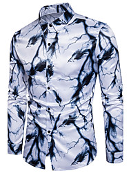 cheap -Men's Active Cotton Slim Shirt - Graphic Print Classic Collar / Long Sleeve