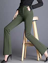 Women's High Rise Stretchy Wide Leg Chinos PantsSimple Bootcut Solid