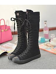 cheap -Women's Shoes Canvas Spring Fall Comfort Boots Flat Heel Round Toe Knee High Boots Lace-up for Dress White Black