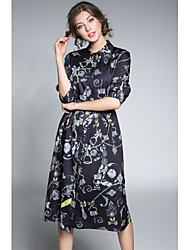 Women's Daily Cute Sexy A Line Dress,Floral Shirt Collar Knee-length Half Sleeves Rayon Spring Summer Mid Rise Inelastic Thin