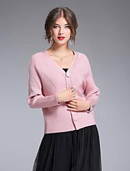 Standard Cardigan Da donna-Per uscire Casual Semplice Romantico Moda città Tinta unita A V Manica lunga Rayon Poliestere Nylon Autunno