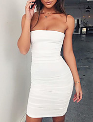 cheap -Women's Going out Club Sexy Street chic Bodycon Dress,Solid Strapless Mini Sleeveless Polyester Summer Fall Mid Rise Micro-elastic Medium