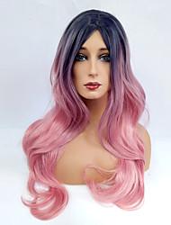 abordables -Perruque Synthétique Ondulé Au Milieu Racines foncées Cheveux Colorés Rose Femme Sans bonnet Perruque de Cosplay Long Cheveux Synthétiques