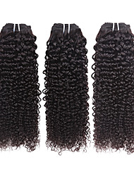 Human Hair Brazilian Natural Color Hair Weaves Curly Hair Extensions 3 Pieces Black