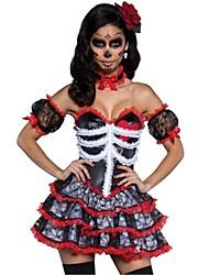 abordables -Squelette / Crâne Zombie Mariée Costume de Cosplay Halloween Le jour des morts Fête / Célébration Déguisement d'Halloween Rouge Mode
