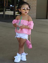 cheap -Girls' Solid Clothing Set,Cotton Spring Summer Short Sleeve Dresswear Blushing Pink