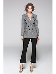 cheap -JOJO HANS Women's Daily Going out Street chic Spring Fall Blazer,Solid Geometric Shirt Collar Long Sleeve Regular Wool
