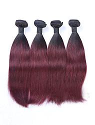 4pcs / lot 400g 12-26 polegadas sem processamento de cabelo virgem virgem virgem brasileira dois tons 1b / 99j # ombre vinho cabelo