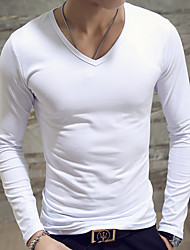 Men's Daily Casual Spring Fall T-shirt,Solid V Neck Long Sleeves Cotton Medium